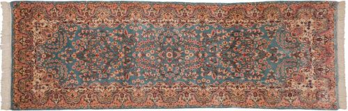 3×9 Persian Kerman Blue Oriental Rug Runner 017342