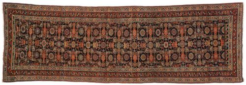 3×9 Persian Kurdistan Black Oriental Rug Runner 013533