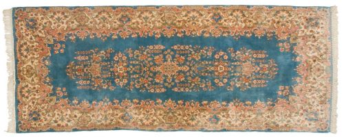 4×10 Persian Kerman Blue Oriental Rug Runner 012181