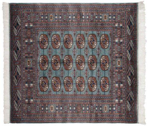 4×4 Bokhara Blue Oriental Square Rug 021802