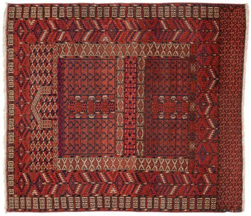 4×4 Bokhara Red Oriental Square Rug 013601