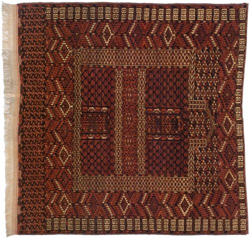 4×4 Bokhara Red Oriental Square Rug 014019