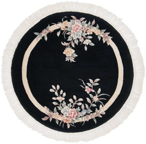4×4 Floral Black Oriental Round Rug 029087
