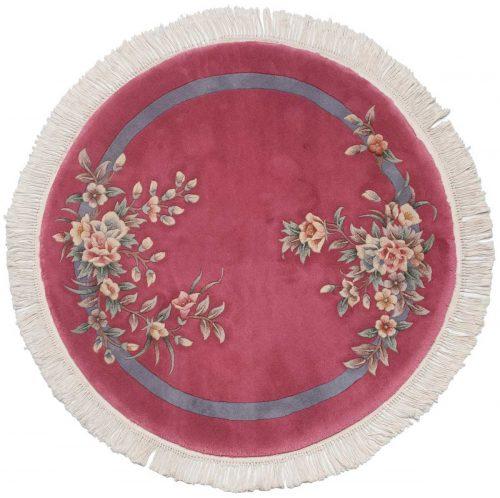 4×4 Floral Rose Oriental Round Rug 029086