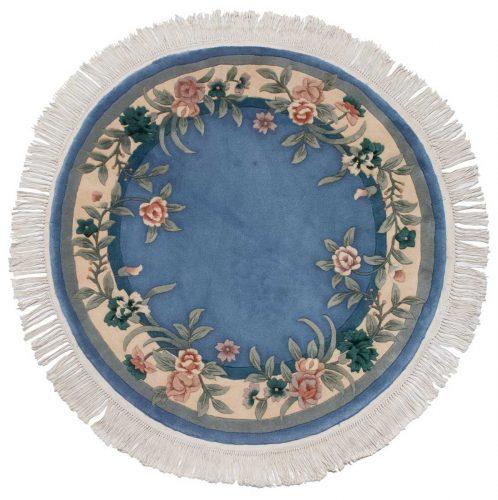 4×4 Floral Blue Oriental Round Rug 028699