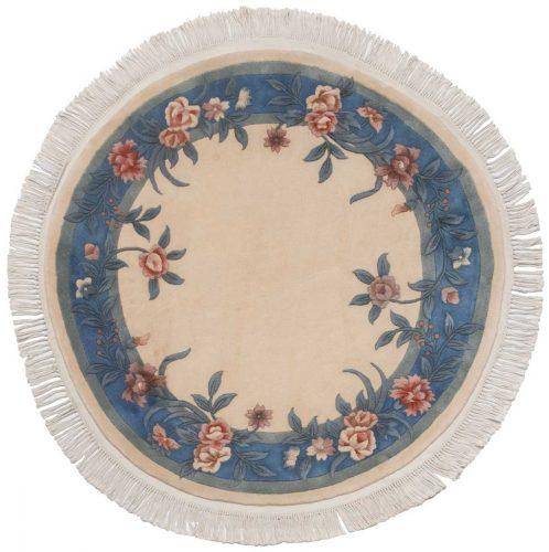 4×4 Floral Ivory Oriental Round Rug 028696