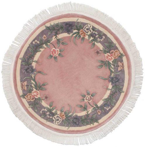 4×4 Floral Rose Oriental Round Rug 028700