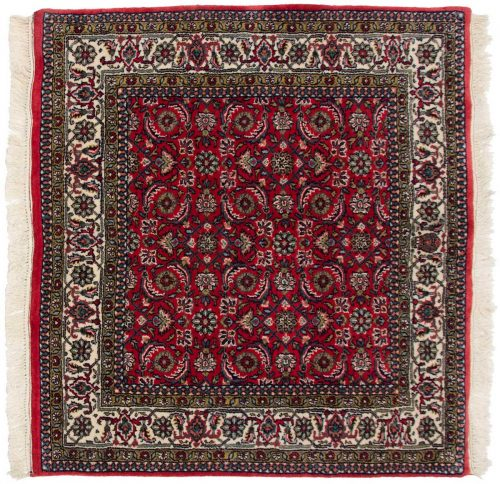 4×4 Bijar Red Oriental Square Rug 031056