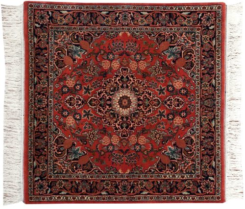 4×4 Kashan Red Oriental Square Rug 031924