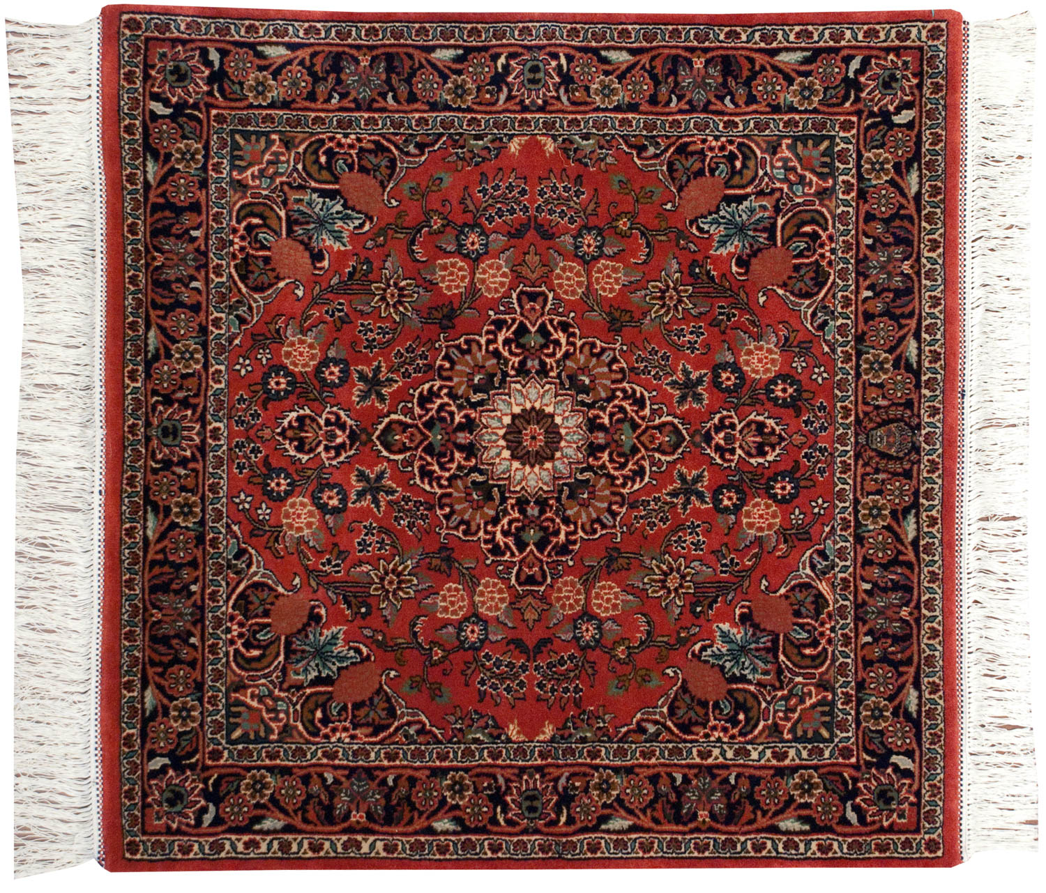 4x4 Kashan Red Oriental Square Rug 031924
