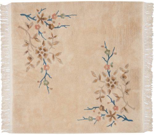 4×4 Peking Ivory Oriental Round Rug 028739