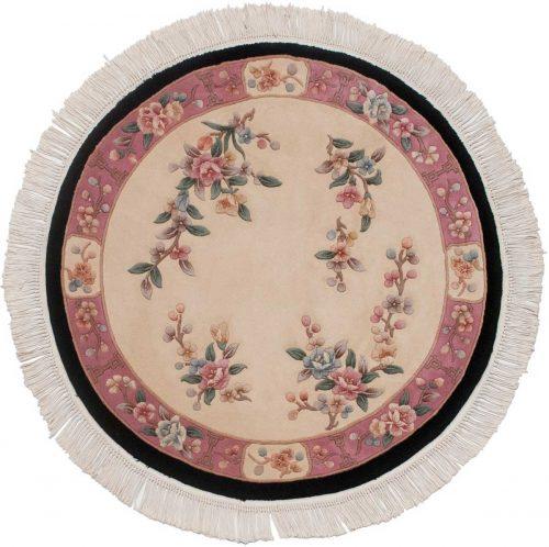 4×4 Peking Ivory Oriental Round Rug 029088