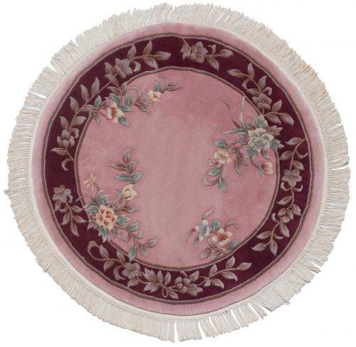 4×4 Peking Rose Oriental Round Rug 029092