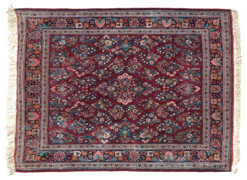 4×4 Persian Sarouk Red Oriental Square Rug 020256