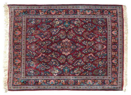 4×4 Persian Sarouk Red Oriental Square Rug 020256