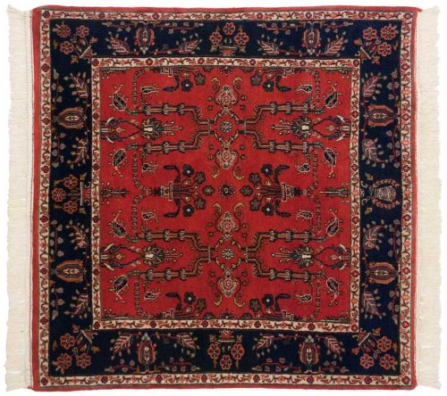 4×4 Sarouk Red Oriental Square Rug 030903