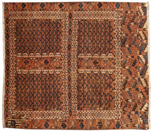 4×5 Bokhara Brown Oriental Rug 014018
