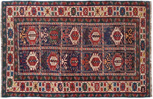 4×5 Caucasian Blue Oriental Rug 013532