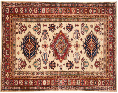 4×5 Kazak Ivory Oriental Rug 048794
