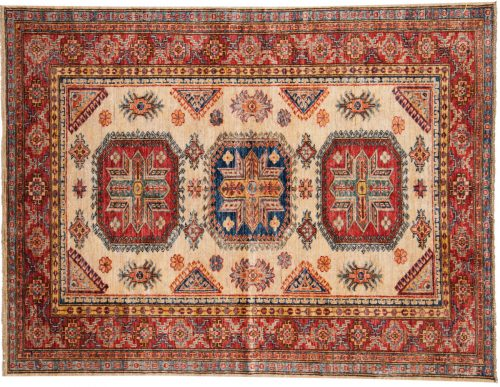 4×5 Kazak Ivory Oriental Rug 048796