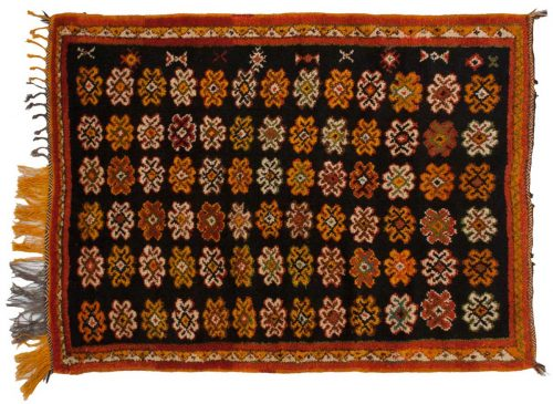 4×5 Moroccan Black Oriental Rug 013573