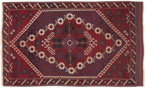 4×5 Persian Balouch Red Oriental Rug 014013