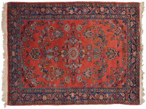 4×5 Persian Lilihan Rose Oriental Rug 011306