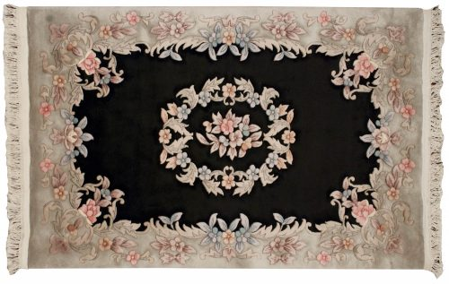 4×6 Aubusson Black Oriental Rug 019040