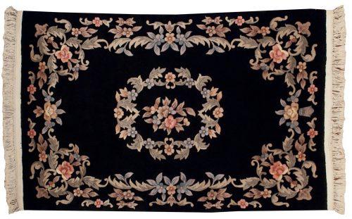 4×6 Aubusson Black Oriental Rug 019259