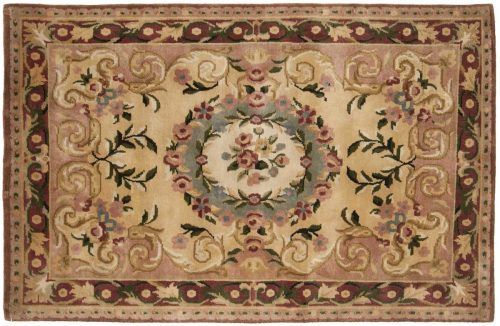 4×6 Aubusson Gold Oriental Rug 027869