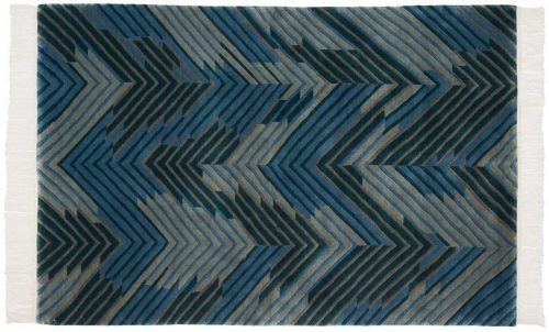 4×6 Geometric Blue Oriental Rug 037021