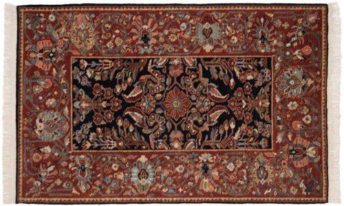4×6 Hamadan Black Oriental Rug 020774