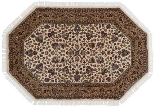 4×6 Kashan Ivory Oriental Octagon Rug 042398
