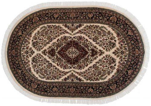 4×6 Kashan Ivory Oriental Oval Rug 042390