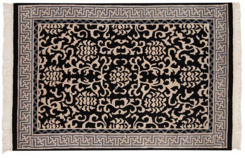 4×6 Tibetan Black Oriental Rug 016828