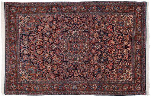 4×7 Persian Kazvin Blue Oriental Rug 017632