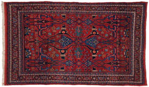 4×8 Persian Bijar Red Oriental Rug 011192