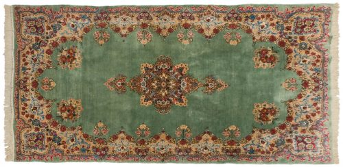 4×8 Persian Kerman Green Oriental Rug 011176