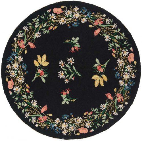 5×5 Floral Bouquet Black Oriental Round Rug 028328