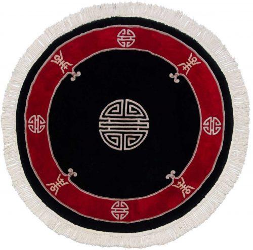 5×5 Peking Black Oriental Round Rug 029096