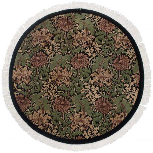 5×5 William Morris Black Oriental Round Rug 038205