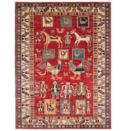 5×6 Kazak Red Oriental Rug 046212