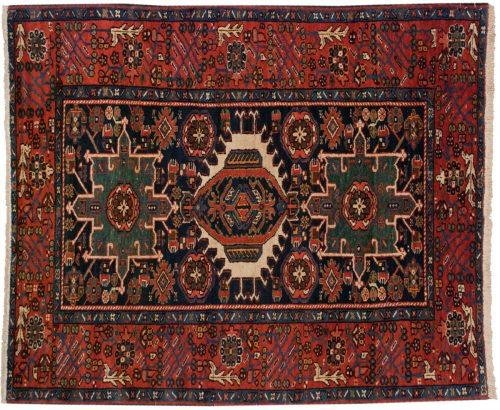 5×6 Persian Karaja Blue Oriental Rug 011211