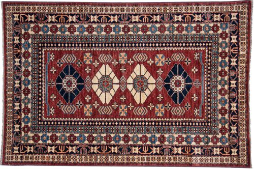5×7 Kazak Red Oriental Rug 026190