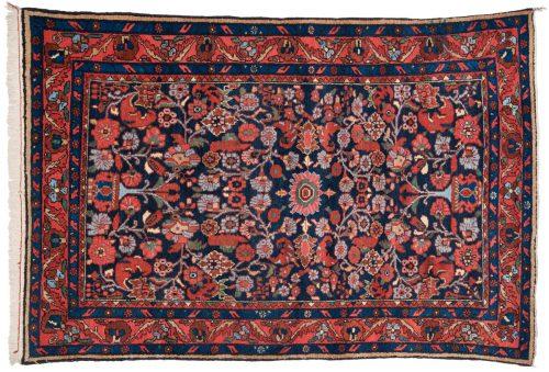 5×7 Persian Hamadan Black Oriental Rug 011134