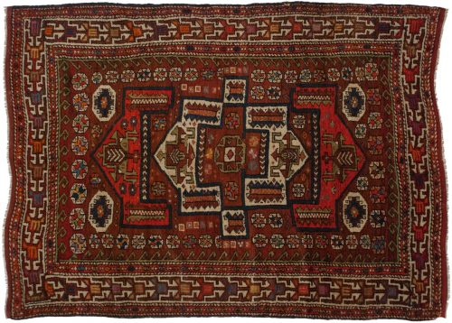 5×7 Persian Kerman Red Oriental Rug 013537