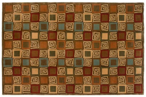 5×8 Block Multi Color Oriental Rug 041925