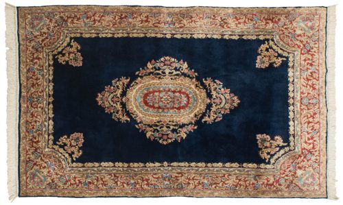 5×8 Persian Kerman Blue Oriental Rug 012294