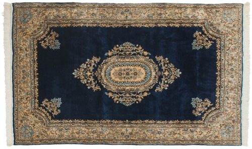 5×8 Persian Kerman Blue Oriental Rug 012317