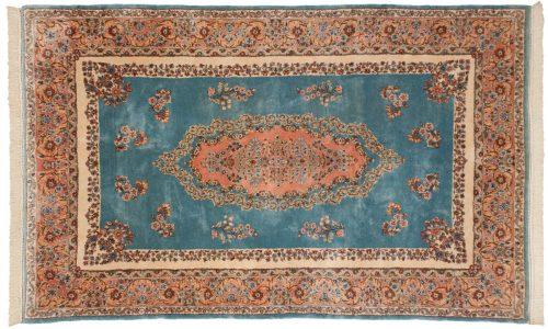 5×8 Persian Kerman Blue Oriental Rug 017563